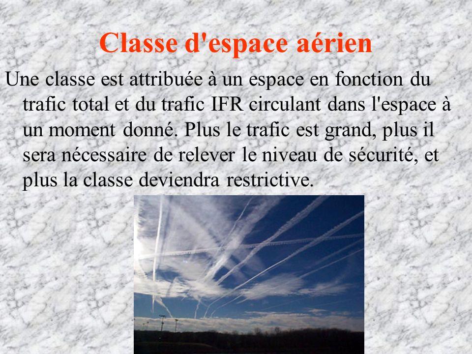Classe d espace aérien Une classe est attribuée à un espace en fonction du trafic total et du trafic IFR circulant dans l espace à un moment donné.