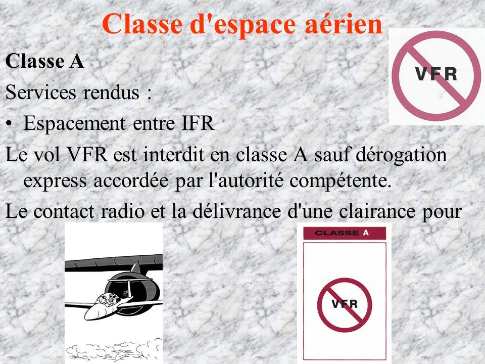 Classe d espace aérien Classe A Services rendus : Espacement entre IFR Le vol VFR est interdit en classe A sauf dérogation express accordée par l autorité compétente.