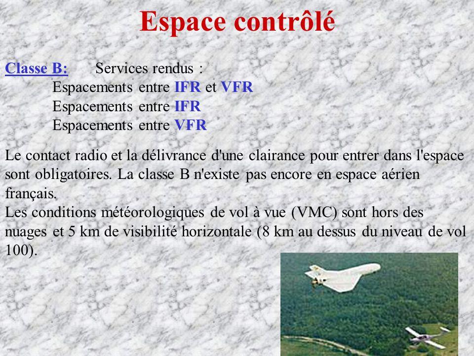 Espace contrôlé Classe B: Services rendus : Espacements entre IFR et VFR Espacements entre IFR Espacements entre VFR Le contact radio et la délivrance d une clairance pour entrer dans l espace sont obligatoires.