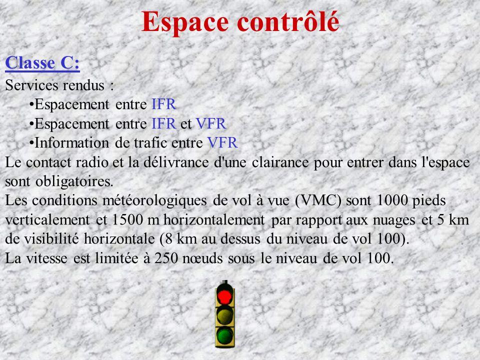 Espace contrôlé Classe C: Services rendus : Espacement entre IFR Espacement entre IFR et VFR Information de trafic entre VFR Le contact radio et la délivrance d une clairance pour entrer dans l espace sont obligatoires.