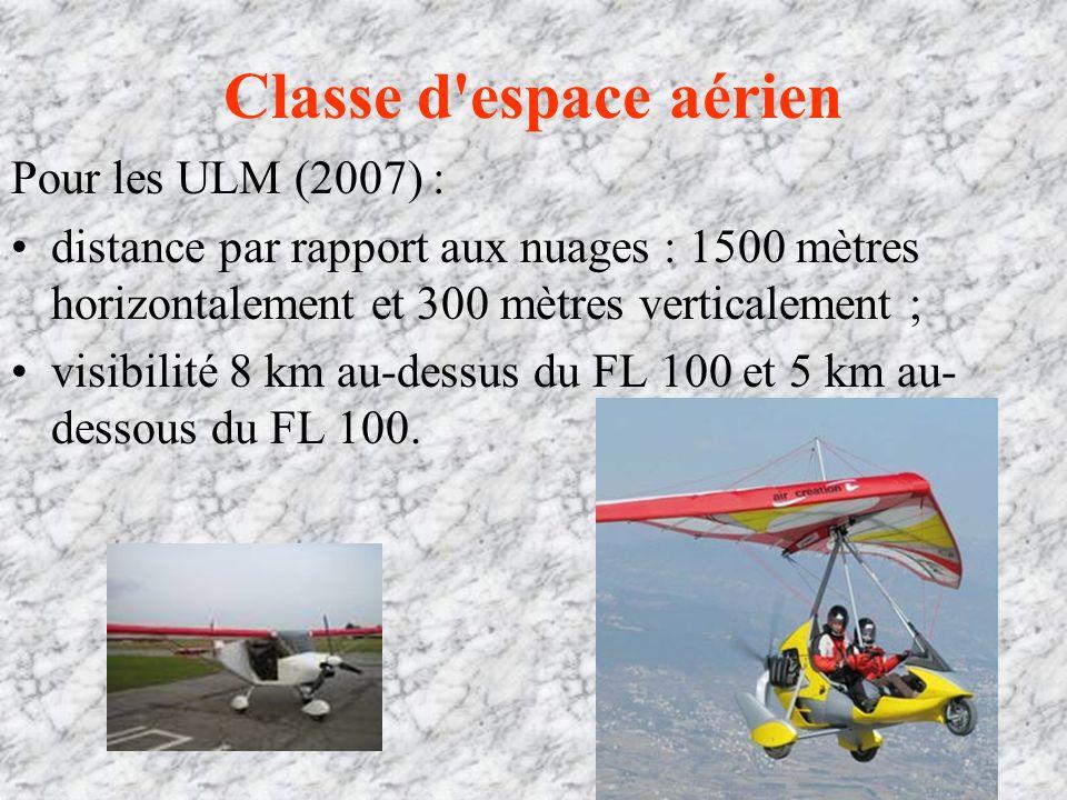 Classe d espace aérien Pour les ULM (2007) : distance par rapport aux nuages : 1500 mètres horizontalement et 300 mètres verticalement ; visibilité 8 km au-dessus du FL 100 et 5 km au- dessous du FL 100.