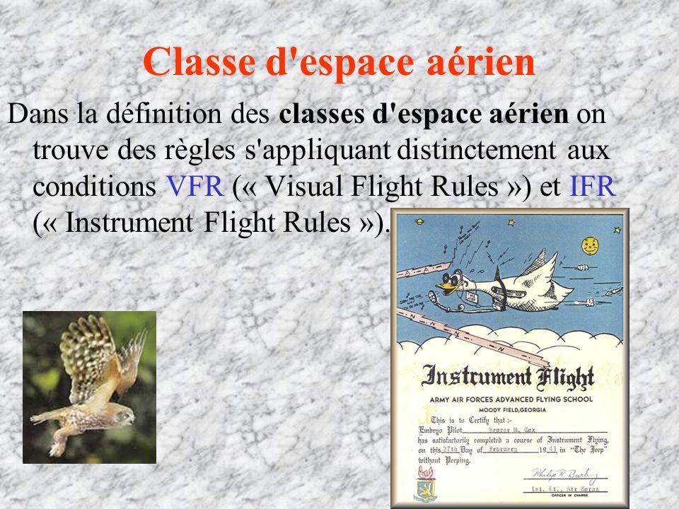 Classe d espace aérien Dans la définition des classes d espace aérien on trouve des règles s appliquant distinctement aux conditions VFR (« Visual Flight Rules ») et IFR (« Instrument Flight Rules »).