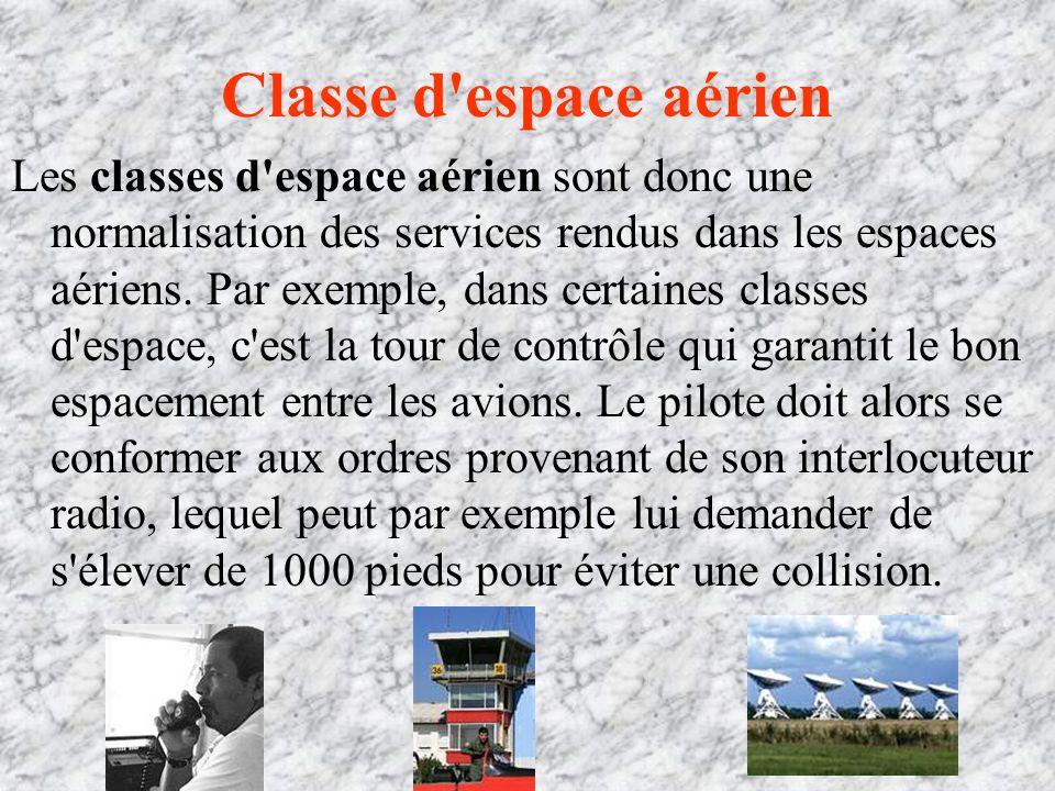 Classe d espace aérien Les classes d espace aérien sont donc une normalisation des services rendus dans les espaces aériens.