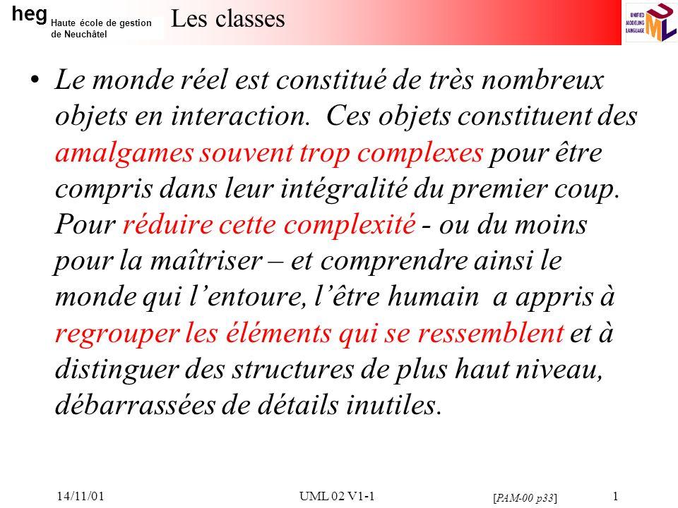 heg Haute école de gestion de Neuchâtel 14/11/01UML 02 V1-11 Les classes Le monde réel est constitué de très nombreux objets en interaction.