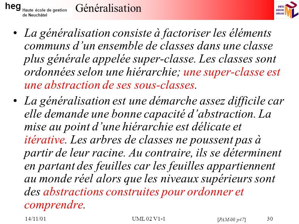 heg Haute école de gestion de Neuchâtel 14/11/01UML 02 V1-130 Généralisation La généralisation consiste à factoriser les éléments communs dun ensemble de classes dans une classe plus générale appelée super-classe.