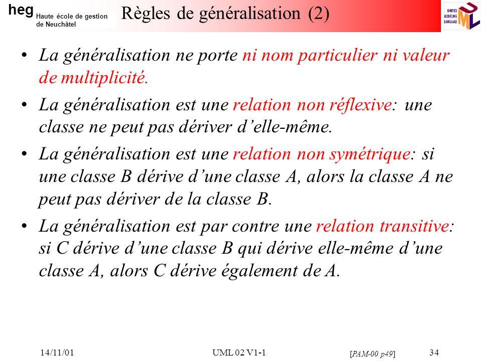 heg Haute école de gestion de Neuchâtel 14/11/01UML 02 V1-134 Règles de généralisation (2) La généralisation ne porte ni nom particulier ni valeur de multiplicité.