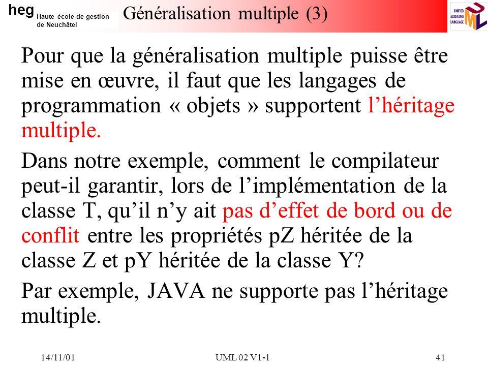 heg Haute école de gestion de Neuchâtel 14/11/01UML 02 V1-141 Généralisation multiple (3) Pour que la généralisation multiple puisse être mise en œuvre, il faut que les langages de programmation « objets » supportent lhéritage multiple.