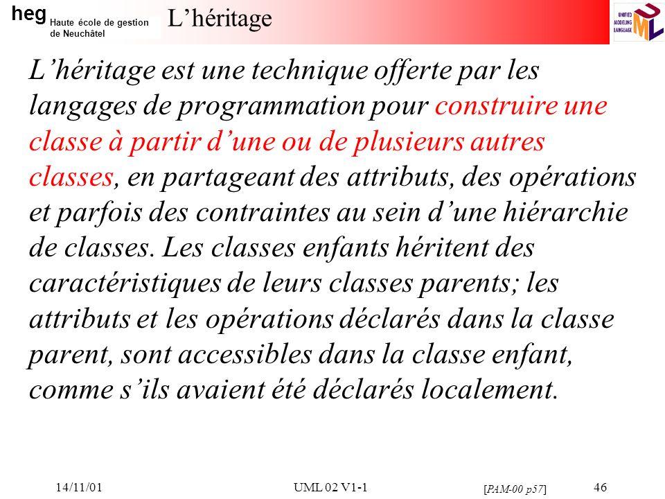 heg Haute école de gestion de Neuchâtel 14/11/01UML 02 V1-146 Lhéritage Lhéritage est une technique offerte par les langages de programmation pour construire une classe à partir dune ou de plusieurs autres classes, en partageant des attributs, des opérations et parfois des contraintes au sein dune hiérarchie de classes.