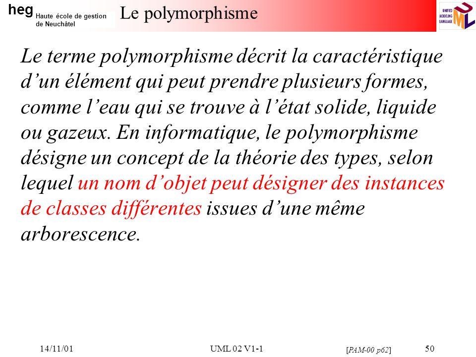 heg Haute école de gestion de Neuchâtel 14/11/01UML 02 V1-150 Le polymorphisme Le terme polymorphisme décrit la caractéristique dun élément qui peut prendre plusieurs formes, comme leau qui se trouve à létat solide, liquide ou gazeux.