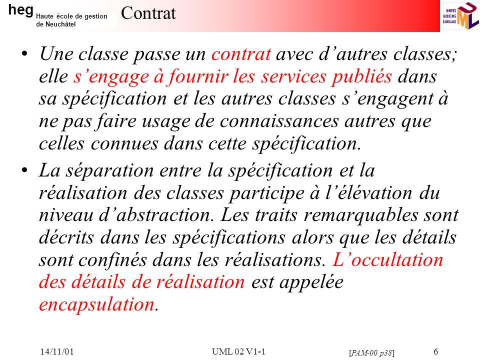 heg Haute école de gestion de Neuchâtel 14/11/01UML 02 V1-117 Rôles Il est possible de préciser le rôle dune classe au sein dune association: un nom de rôle peut être spécifié de part et dautre de lassociation.
