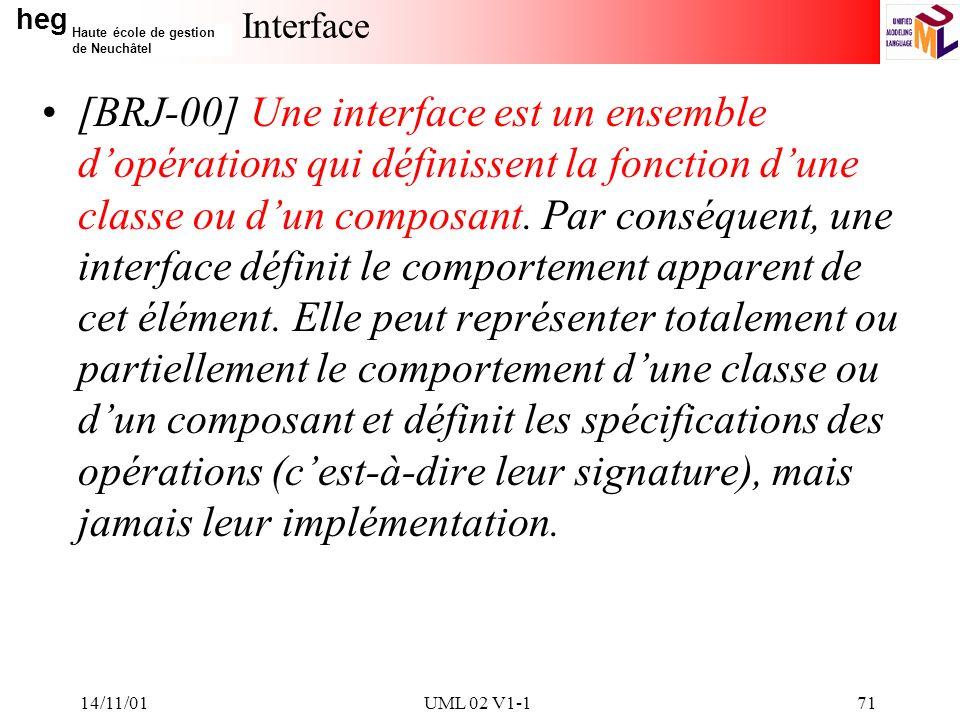 heg Haute école de gestion de Neuchâtel 14/11/01UML 02 V1-171 Interface [BRJ-00] Une interface est un ensemble dopérations qui définissent la fonction dune classe ou dun composant.
