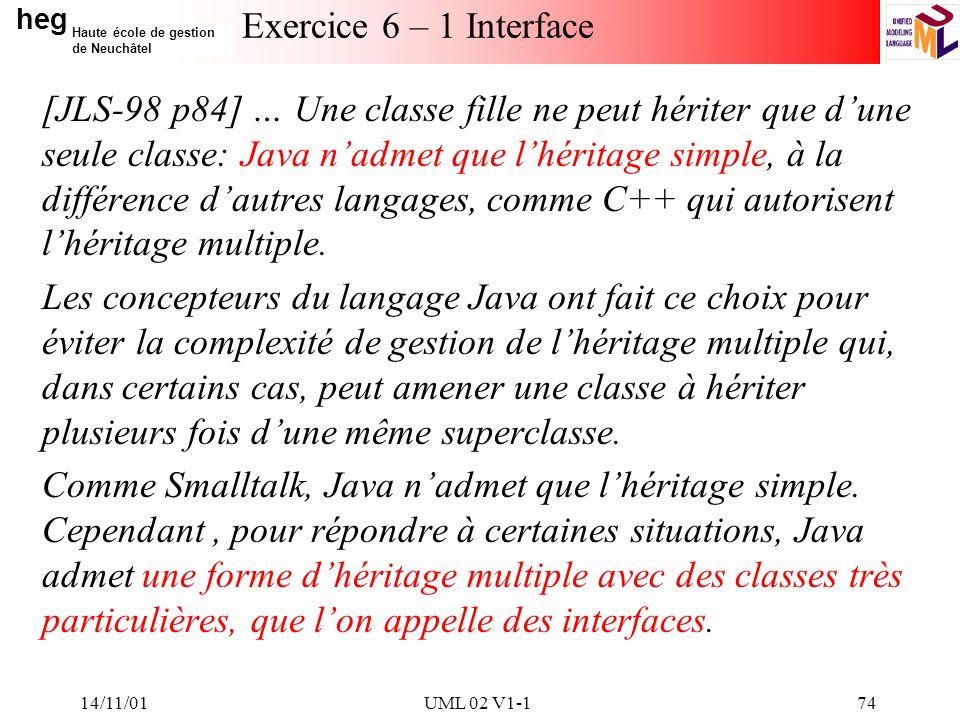 heg Haute école de gestion de Neuchâtel 14/11/01UML 02 V1-174 Exercice 6 – 1 Interface [JLS-98 p84] … Une classe fille ne peut hériter que dune seule classe: Java nadmet que lhéritage simple, à la différence dautres langages, comme C++ qui autorisent lhéritage multiple.