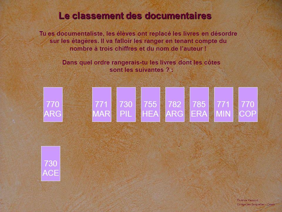 Le classement des documentaires 730 ACE Tu es documentaliste, les élèves ont replacé les livres en désordre sur les étagères. Il va falloir les ranger