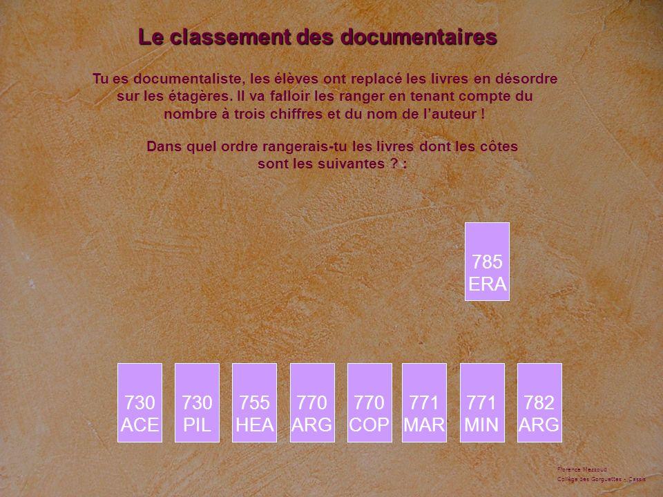 Le classement des documentaires Tu es documentaliste, les élèves ont replacé les livres en désordre sur les étagères. Il va falloir les ranger en tena