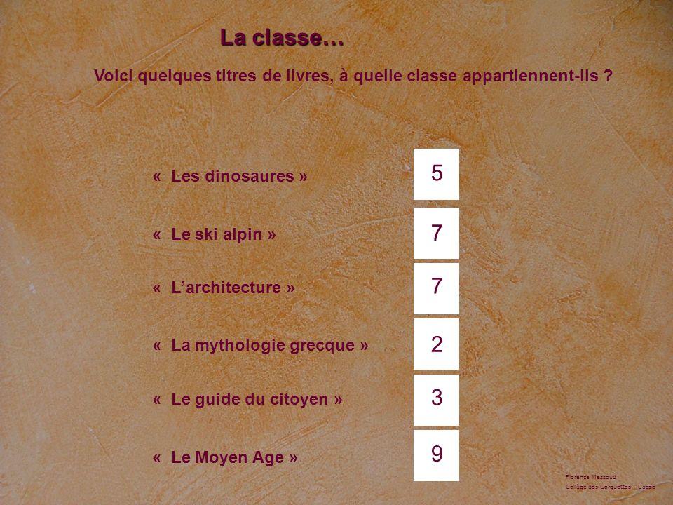 La classe… « Les dinosaures » « Le ski alpin » « Larchitecture » « La mythologie grecque » « Le guide du citoyen » « Le Moyen Age » 5 7 7 2 3 9 Voici