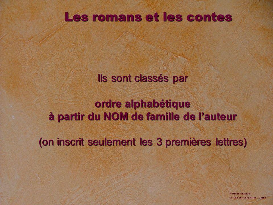 Ils sont classés par ordre alphabétique à partir du NOM de famille de lauteur (on inscrit seulement les 3 premières lettres) Les romans et les contes