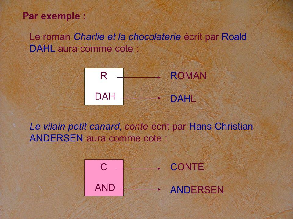 Le roman Charlie et la chocolaterie écrit par Roald DAHL aura comme cote : R DAH ROMAN DAHL Le vilain petit canard, conte écrit par Hans Christian AND