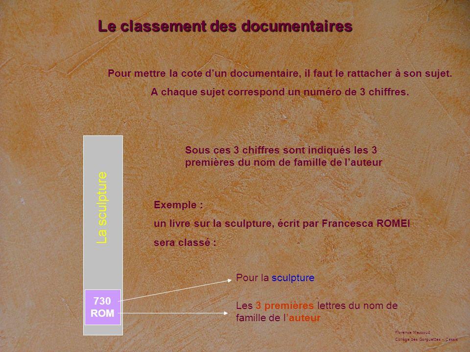 La sculpture Pour mettre la cote dun documentaire, il faut le rattacher à son sujet. A chaque sujet correspond un numéro de 3 chiffres. Le classement