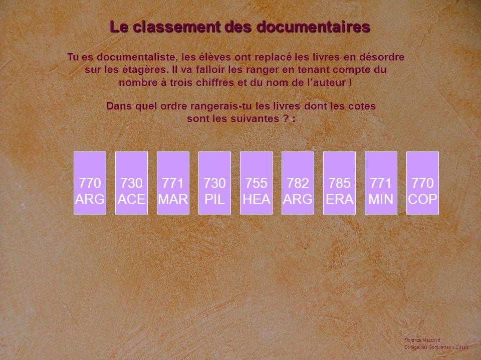 Le classement des documentaires 730 ACE Tu es documentaliste, les élèves ont replacé les livres en désordre sur les étagères.