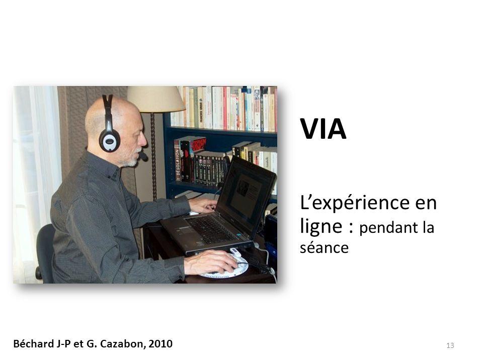 Lexpérience en ligne : pendant la séance 13 VIA Béchard J-P et G. Cazabon, 2010