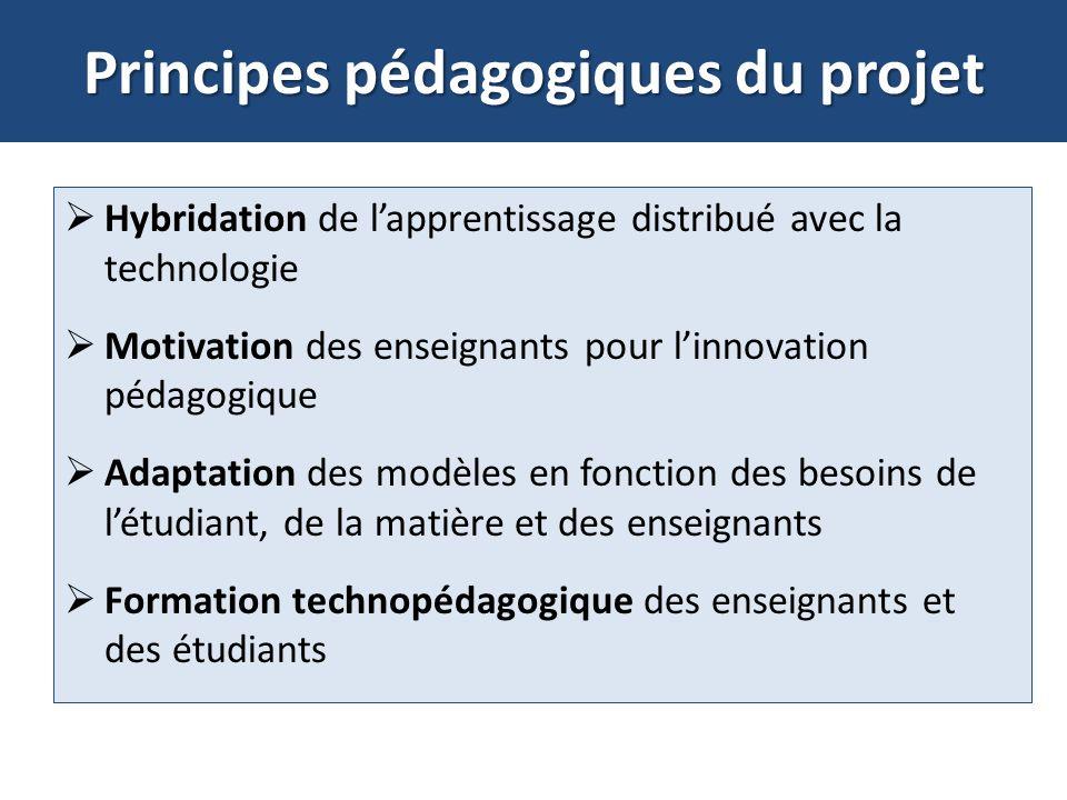 Principes pédagogiques du projet Hybridation de lapprentissage distribué avec la technologie Motivation des enseignants pour linnovation pédagogique A