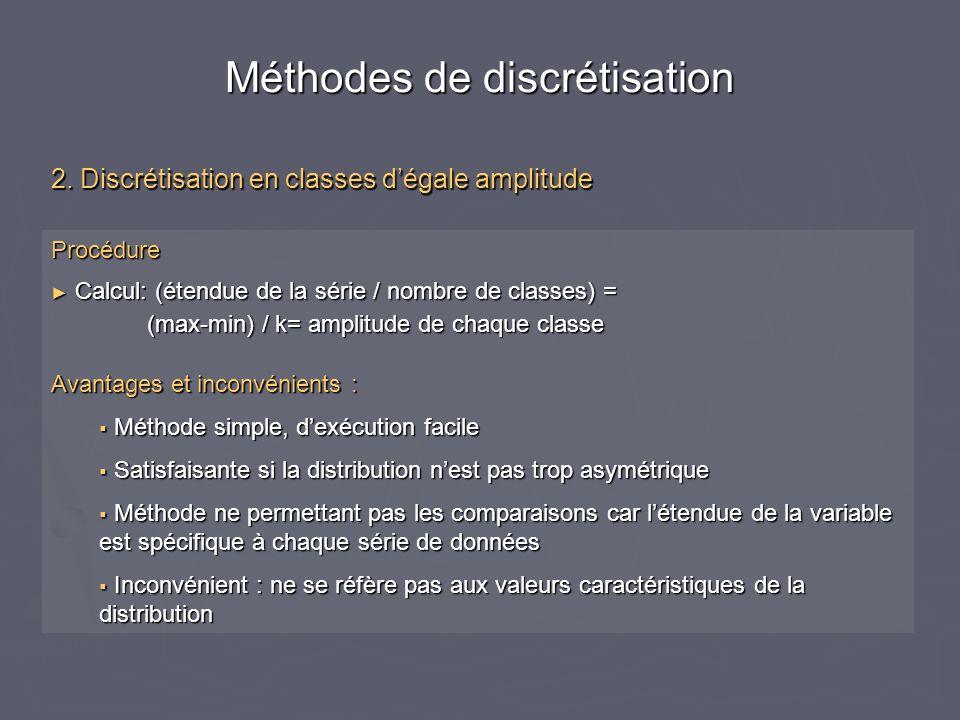 2. Discrétisation en classes dégale amplitude Procédure Calcul: (étendue de la série / nombre de classes) = Calcul: (étendue de la série / nombre de c