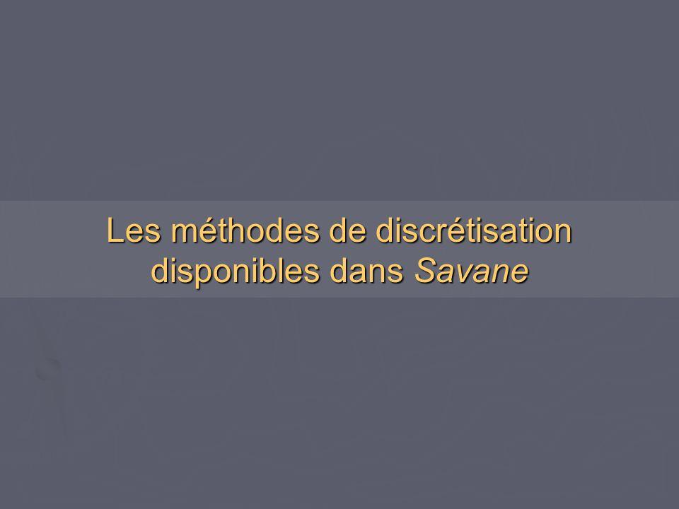 Les méthodes de discrétisation disponibles dans Savane