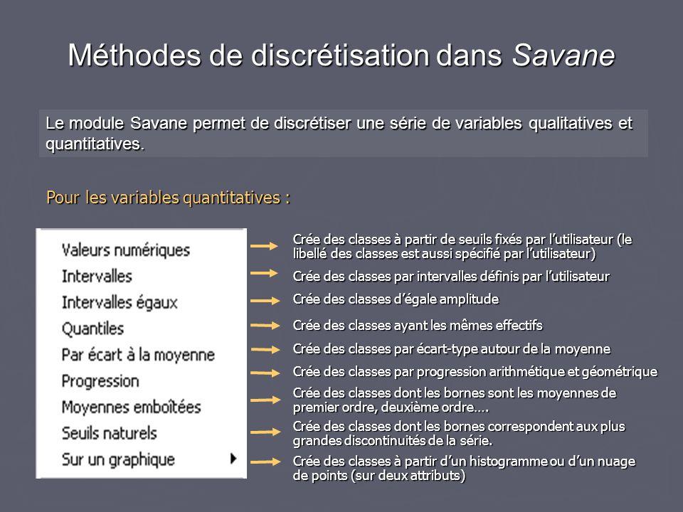 Méthodes de discrétisation dans Savane Le module Savane permet de discrétiser une série de variables qualitatives et quantitatives.
