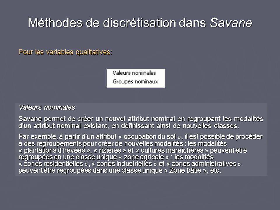 Méthodes de discrétisation dans Savane Pour les variables qualitatives: Valeurs nominales Savane permet de créer un nouvel attribut nominal en regroupant les modalités dun attribut nominal existant, en définissant ainsi de nouvelles classes.