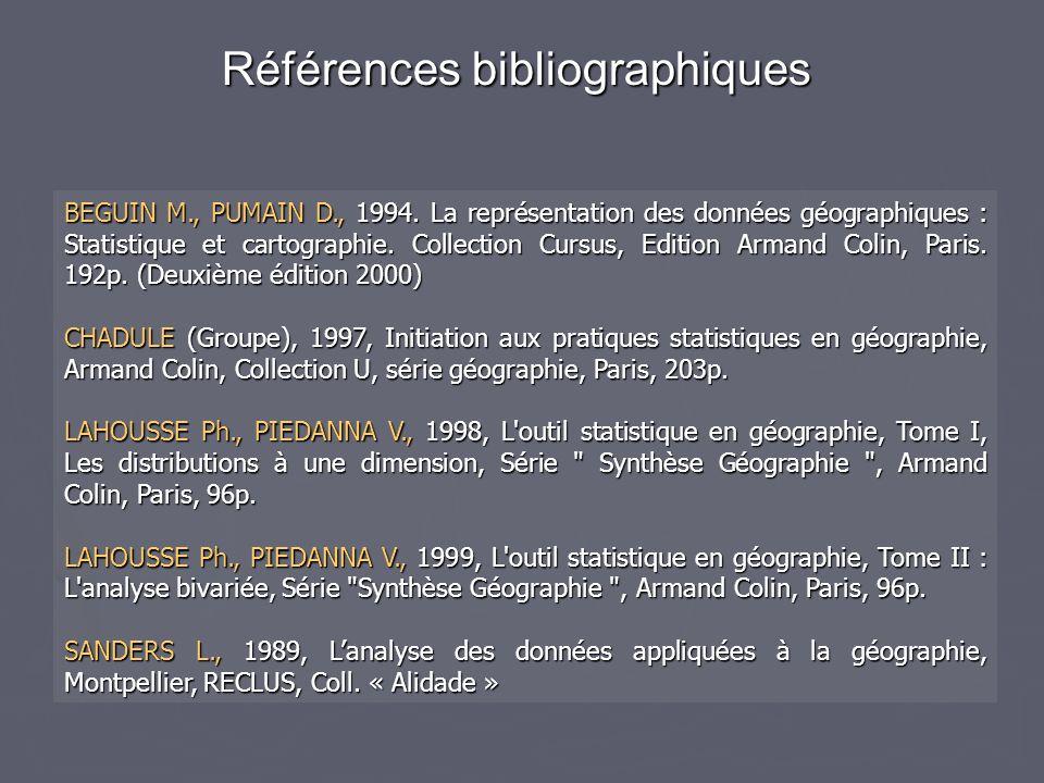 Références bibliographiques BEGUIN M., PUMAIN D., 1994.