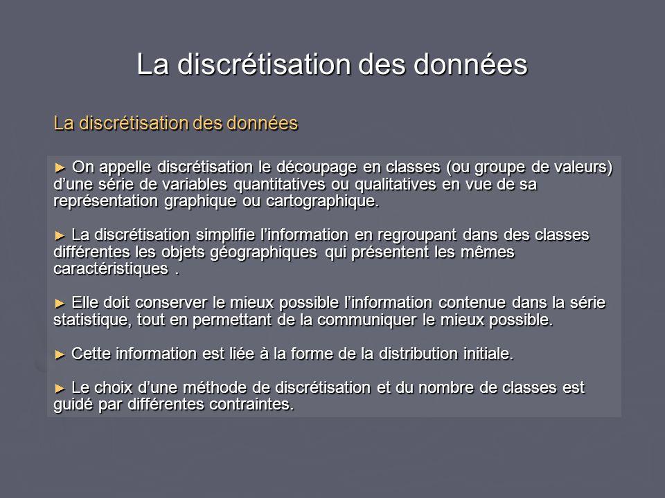 La discrétisation des données On appelle discrétisation le découpage en classes (ou groupe de valeurs) dune série de variables quantitatives ou qualitatives en vue de sa représentation graphique ou cartographique.