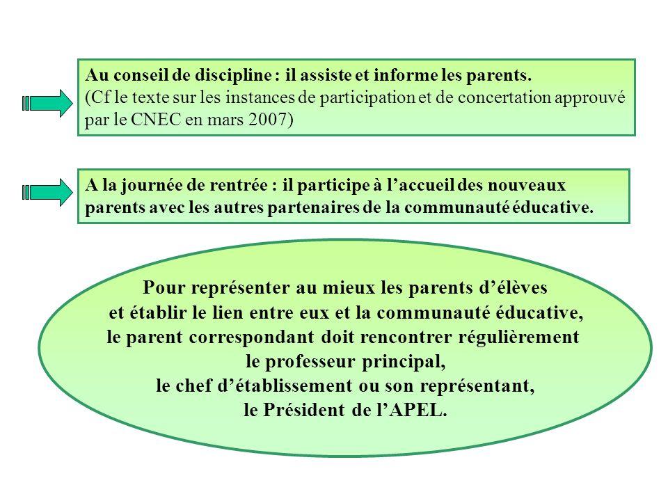 Au conseil de discipline : il assiste et informe les parents. (Cf le texte sur les instances de participation et de concertation approuvé par le CNEC