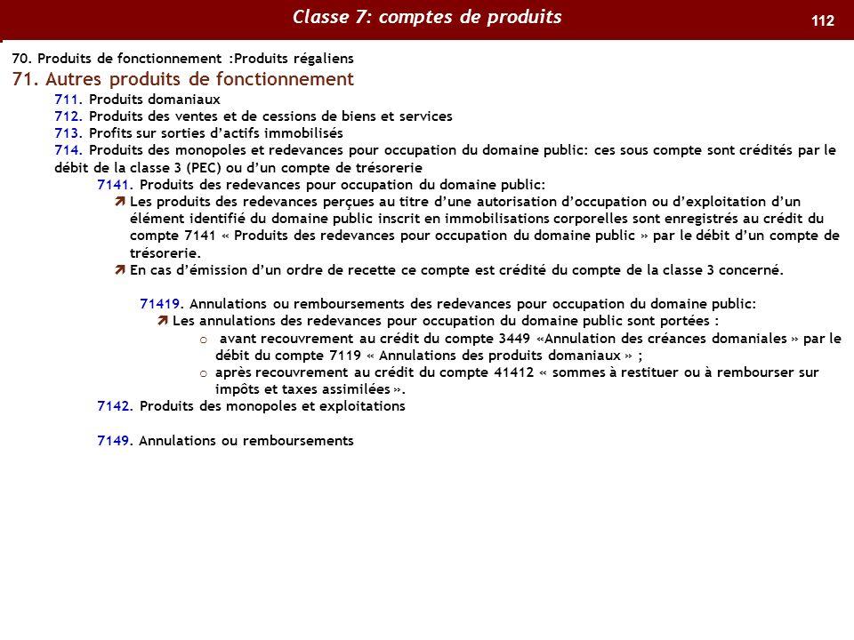 112 70.Produits de fonctionnement :Produits régaliens 71.