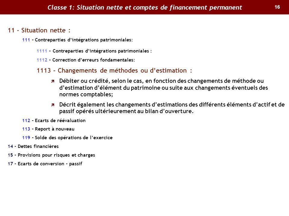 16 Classe 1: Situation nette et comptes de financement permanent 11 - Situation nette : 111 – Contreparties dintégrations patrimoniales: 1111 – Contre