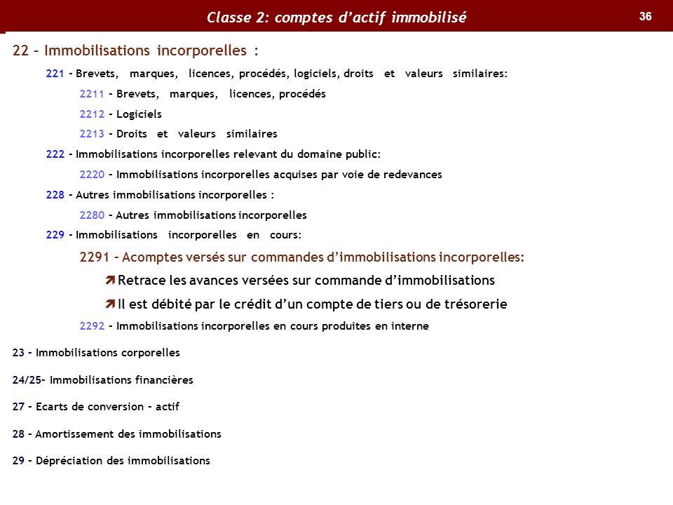 36 Classe 2: comptes dactif immobilisé 22 – Immobilisations incorporelles : 221 - Brevets, marques, licences, procédés, logiciels, droits et valeurs s