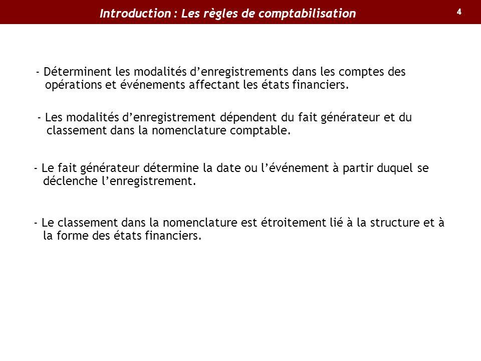4 Introduction : Les règles de comptabilisation - Déterminent les modalités denregistrements dans les comptes des opérations et événements affectant l