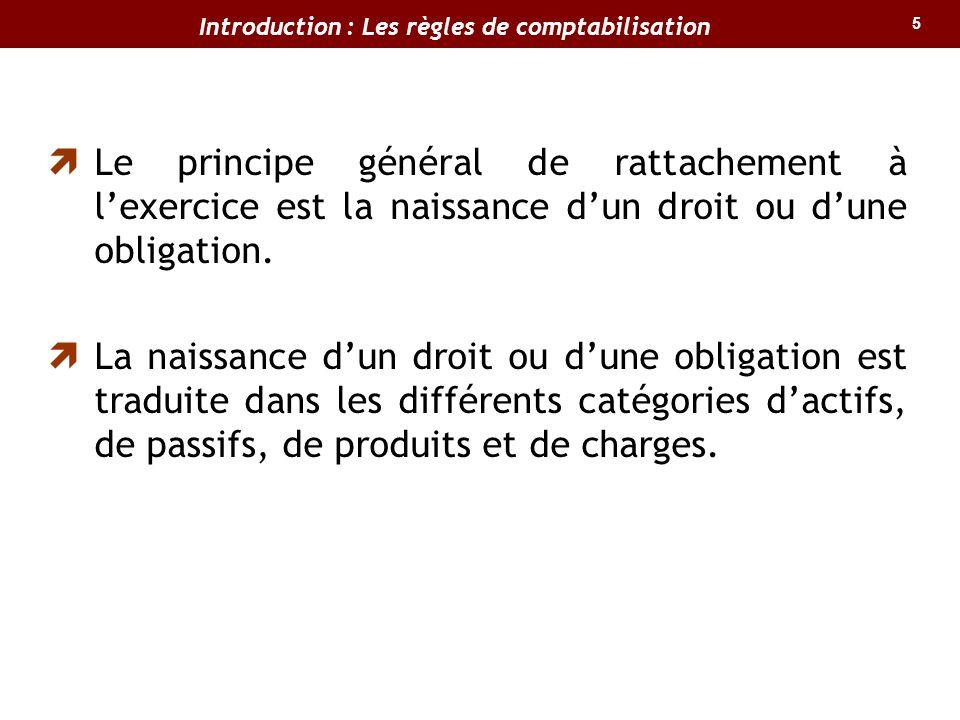 5 Le principe général de rattachement à lexercice est la naissance dun droit ou dune obligation.