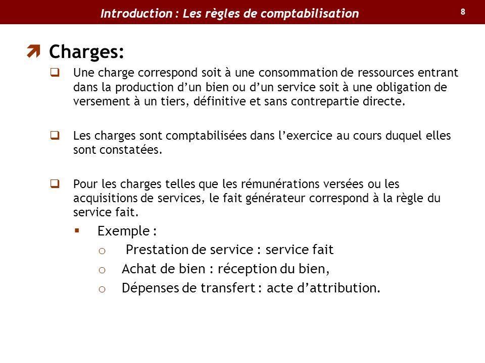 8 Charges: Une charge correspond soit à une consommation de ressources entrant dans la production dun bien ou dun service soit à une obligation de ver