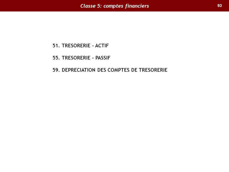93 Classe 5: comptes financiers 51. TRESORERIE - ACTIF 55. TRESORERIE – PASSIF 59. DEPRECIATION DES COMPTES DE TRESORERIE