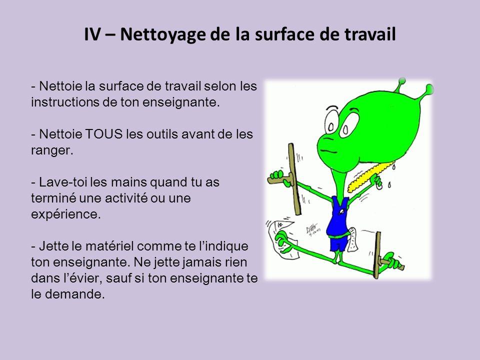 IV – Nettoyage de la surface de travail - Nettoie la surface de travail selon les instructions de ton enseignante. - Nettoie TOUS les outils avant de