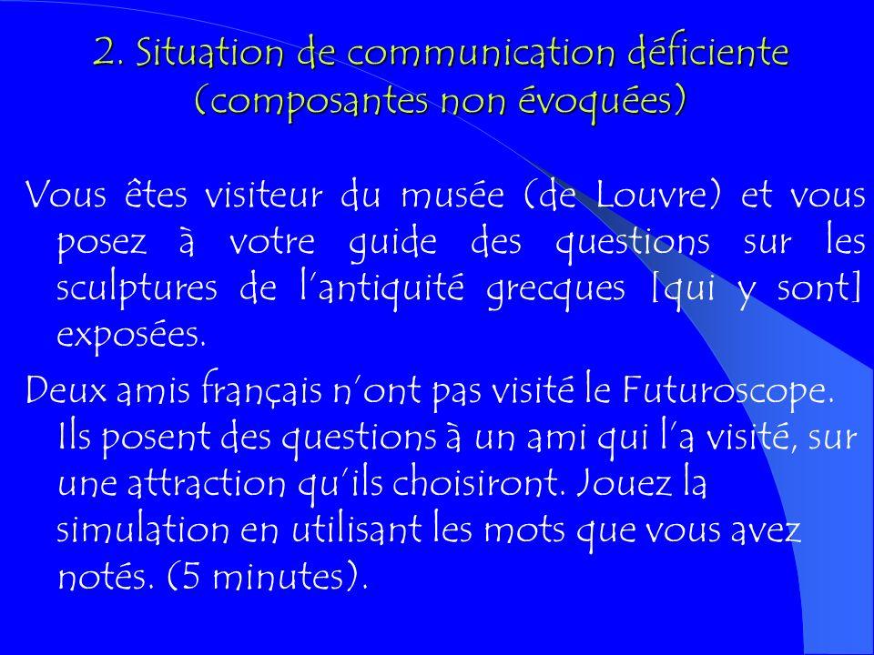 1. Absence de situation de communication Fournir aux apprenants une suite de consignes / directives sur les tâches à réaliser Tapez http://xenios.cti.
