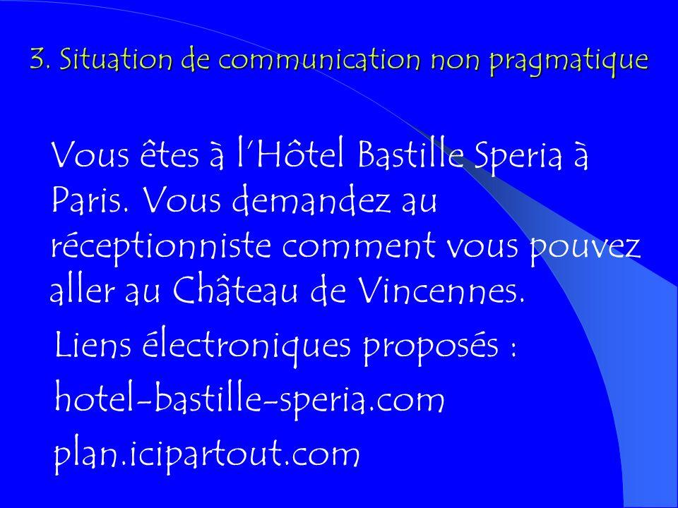 2. Situation de communication déficiente (composantes non évoquées) Vous êtes visiteur du musée (de Louvre) et vous posez à votre guide des questions