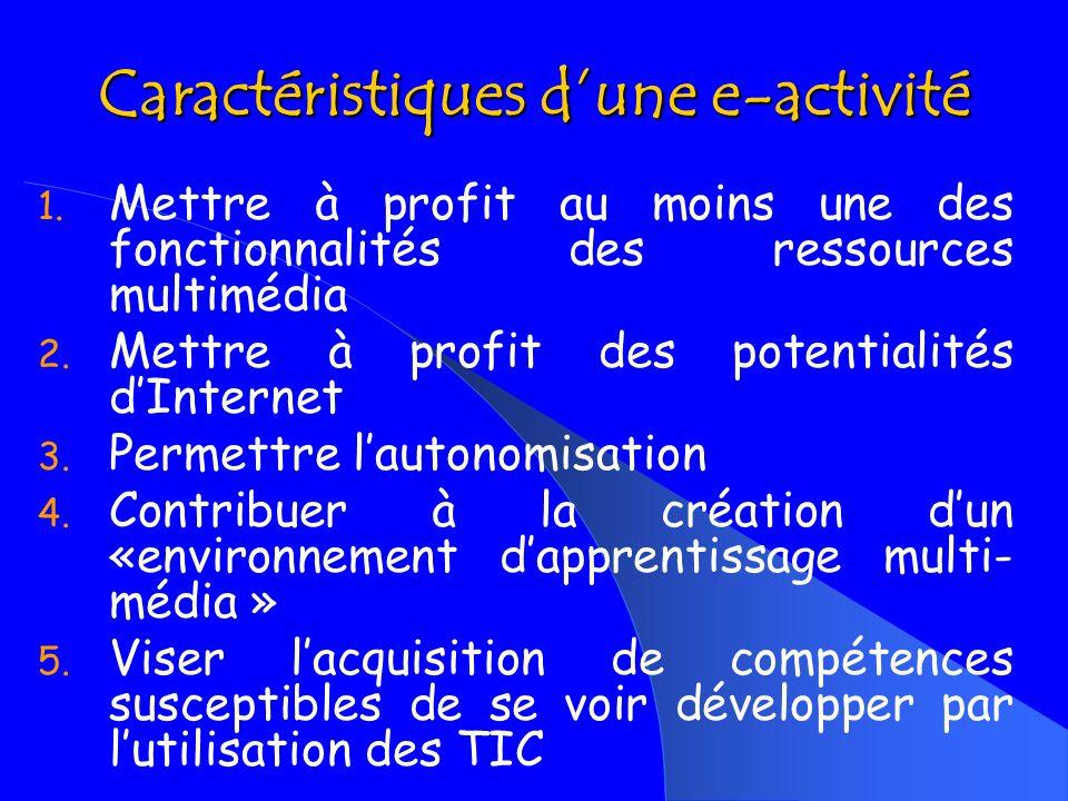 AXE II VÉRIFIER SI LES ACTIVITES PORTENT LES CARACTÉRISTIQUES DUNE E-ACTIVITÉ