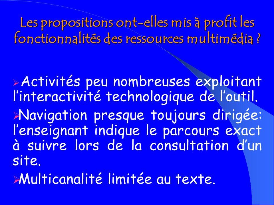 Tendances repérées Les activités proposées sont- elles des e-activités .