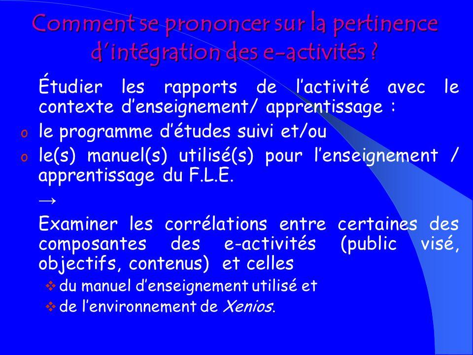 AXE III EXAMINER LA PERTINENCE DE LINTÉGRATION PROPOSÉE