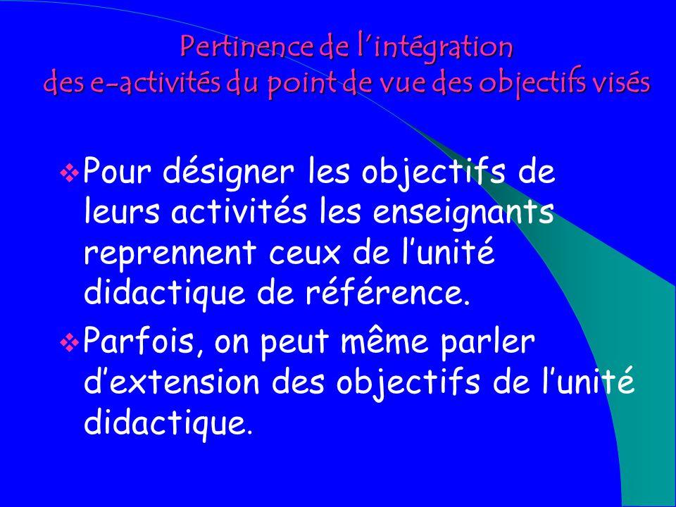 Pertinence de lintégration des e-activités du point de vue du public visé Le public visé par les propositions des enseignants est conforme à celui des manuels utilisés et des modules de Xenios.