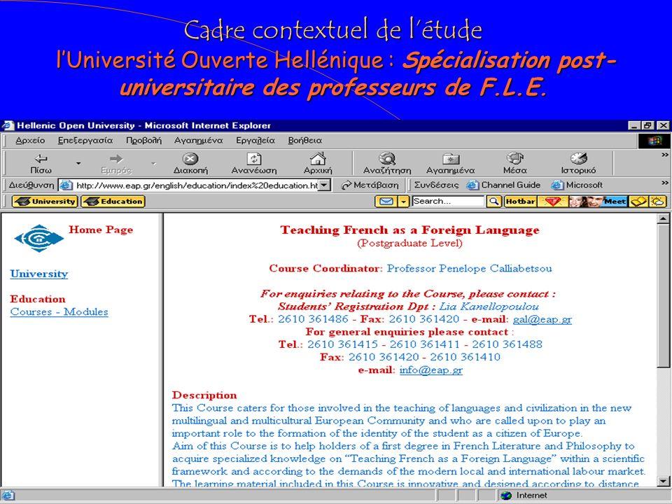 Cadre contextuel de létude LUniversité Ouverte Hellénique : Spécialisation post-universitaire des professeurs de F.L.E.
