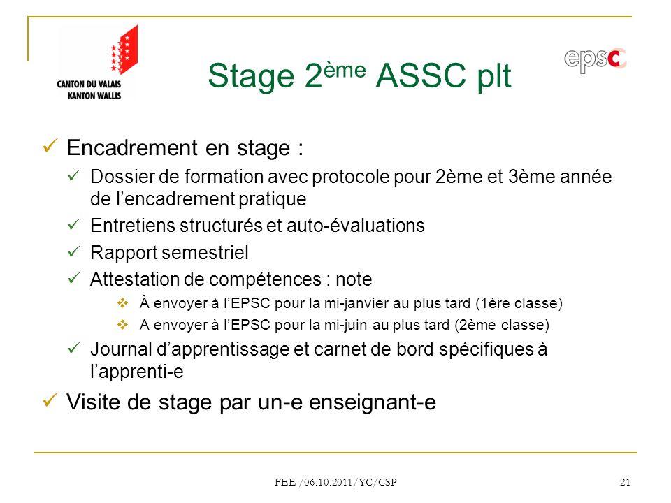 FEE /06.10.2011/YC/CSP 21 Stage 2 ème ASSC plt Encadrement en stage : Dossier de formation avec protocole pour 2ème et 3ème année de lencadrement pratique Entretiens structurés et auto-évaluations Rapport semestriel Attestation de compétences : note À envoyer à lEPSC pour la mi-janvier au plus tard (1ère classe) A envoyer à lEPSC pour la mi-juin au plus tard (2ème classe) Journal dapprentissage et carnet de bord spécifiques à lapprenti-e Visite de stage par un-e enseignant-e