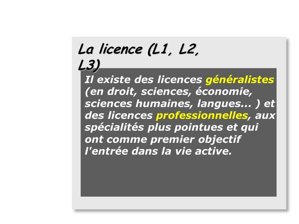 La licence (L1, L2, L3) la licence (L1, L2, L3) se déroule sur six trimestres validés par 180 crédits (ou ECTS). Elle est le premier diplôme denseigne