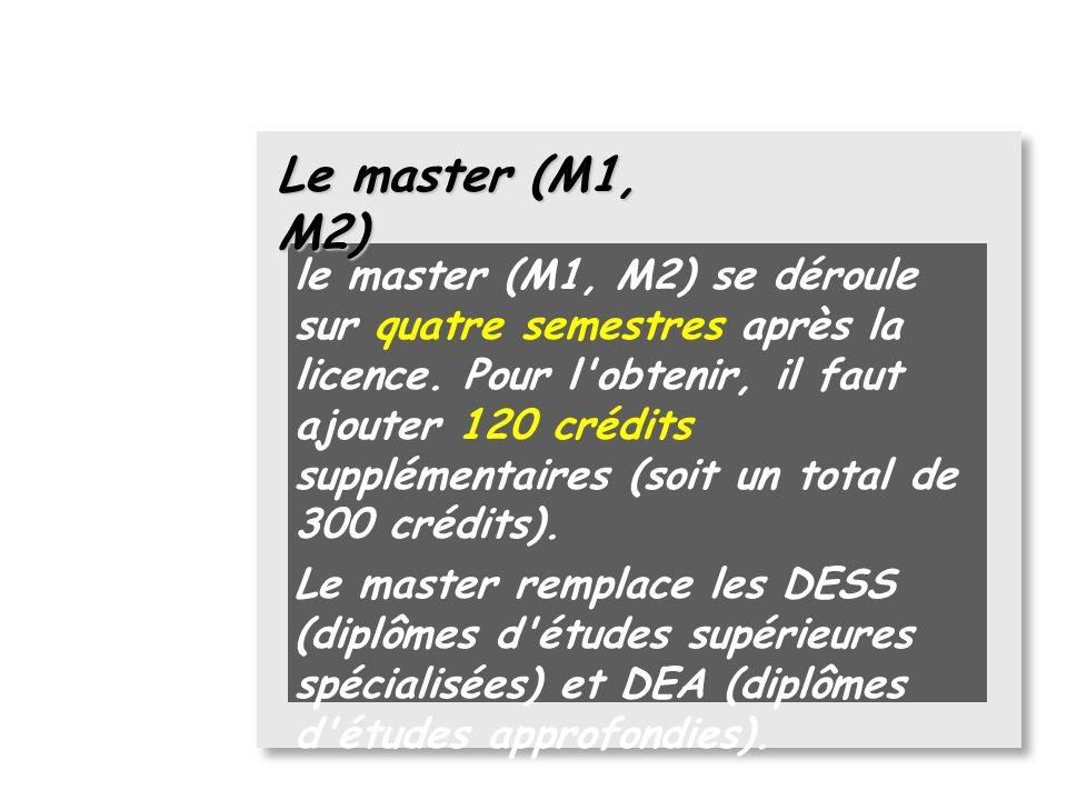 La licence (L1, L2, L3) Il existe des licences généralistes (en droit, sciences, économie, sciences humaines, langues... ) et des licences professionn